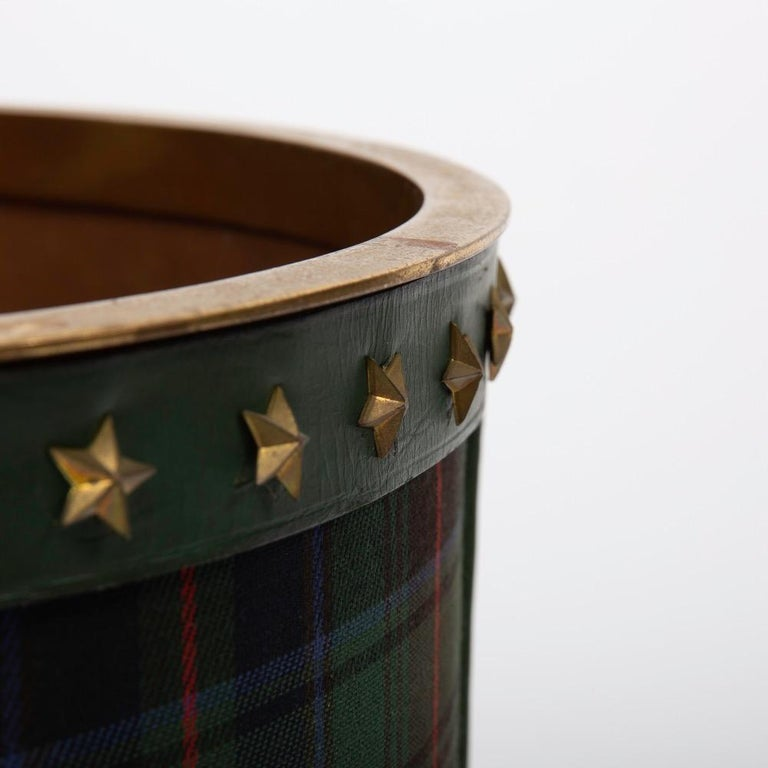 French Large Waste Paper Basket, Tartan Fabric, Leather with Bronze Accents For Sale 1