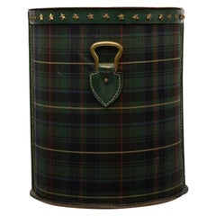 French Large Waste Paper Basket, Tartan Fabric, Leather with Bronze Accents