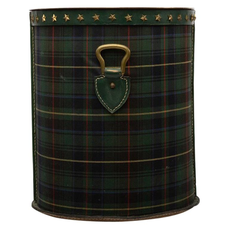 French Large Waste Paper Basket, Tartan Fabric, Leather with Bronze Accents For Sale