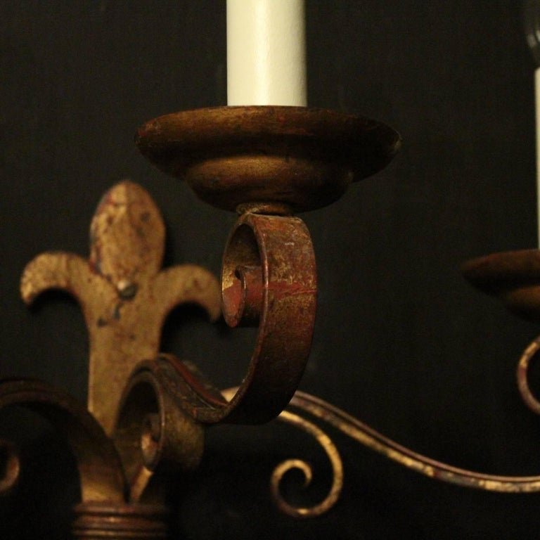 French Large Wrought Iron Antique Wall Lights In Good Condition For Sale In Chester, GB