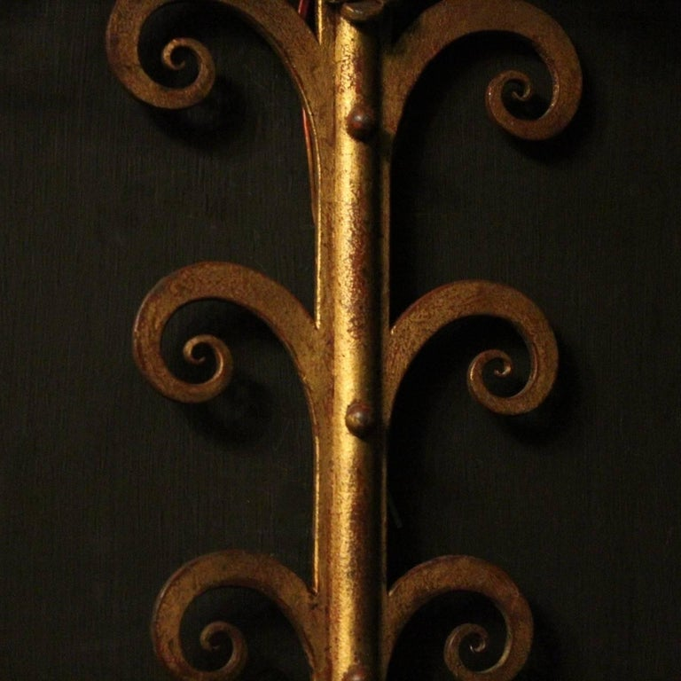 French Large Wrought Iron Antique Wall Lights For Sale 4