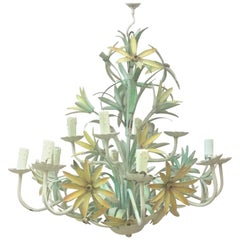 French Large Yellow Lilies Tole Chandelier, circa 1950