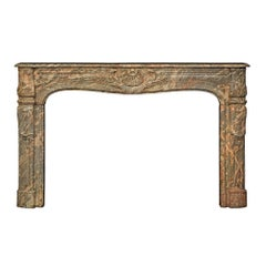 French Late 18th Century Louis XV Period Sarancolin Marble Mantel