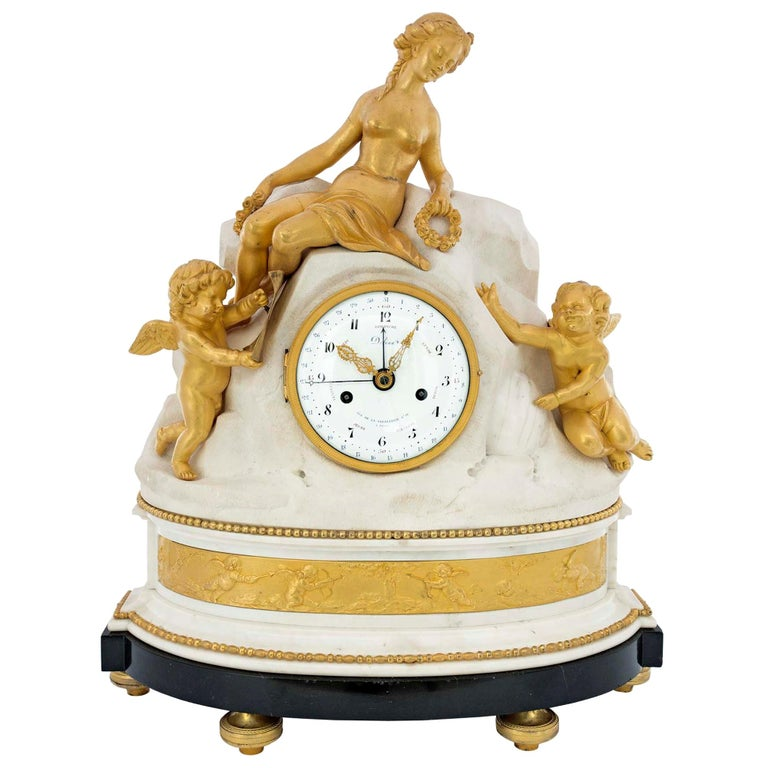 French Late 18th Century Louis XVI Period Clock Signed Déliau For Sale