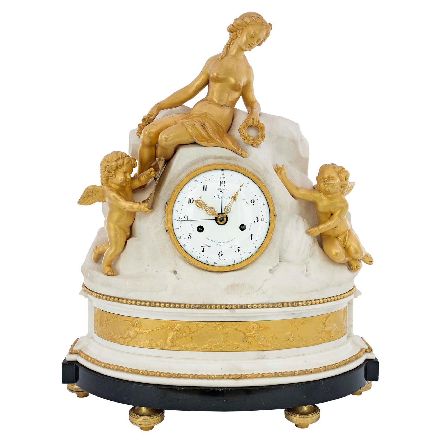 French Late 18th Century Louis XVI Period Clock Signed Déliau