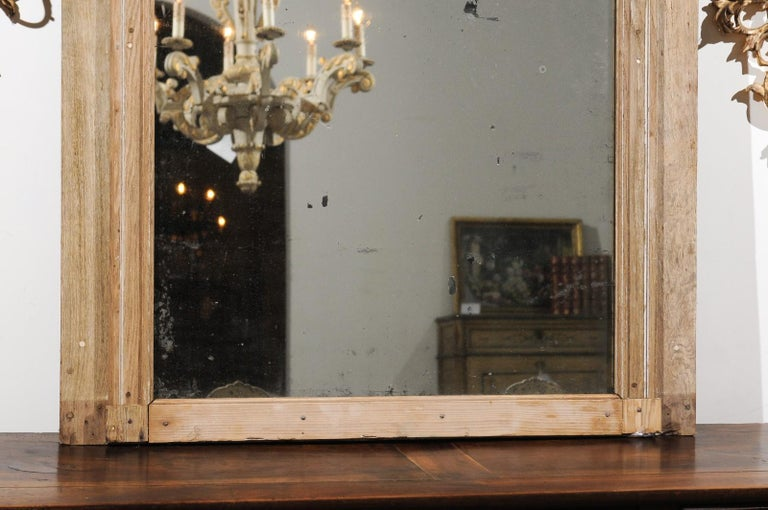 French Late 18th Century Louis XVI Trumeau Mirror with Carved Bow and Flowers In Good Condition For Sale In Atlanta, GA