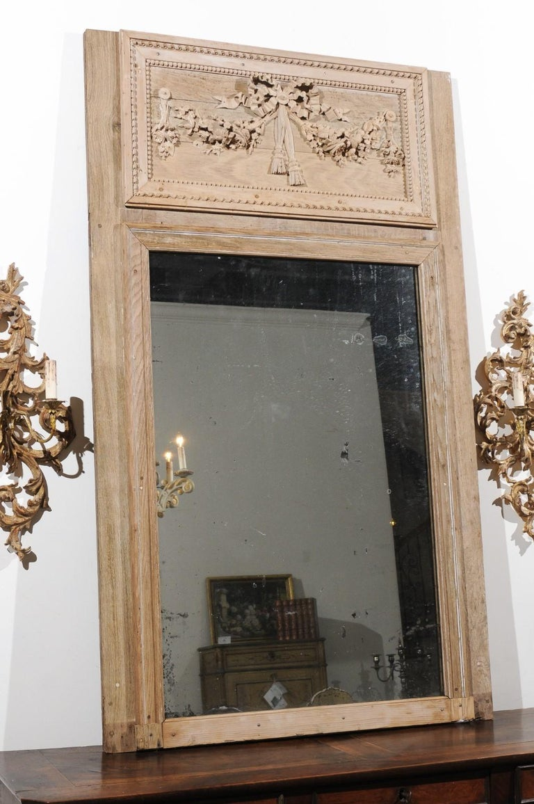 French Late 18th Century Louis XVI Trumeau Mirror with Carved Bow and Flowers For Sale 2