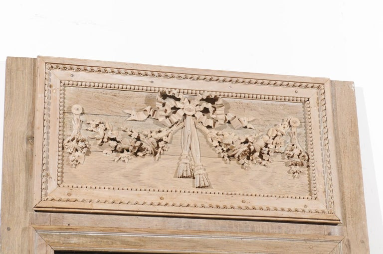 French Late 18th Century Louis XVI Trumeau Mirror with Carved Bow and Flowers For Sale 5
