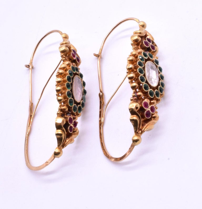 French Late 18th Century Paste Gold Poissarde Earrings For Sale 7