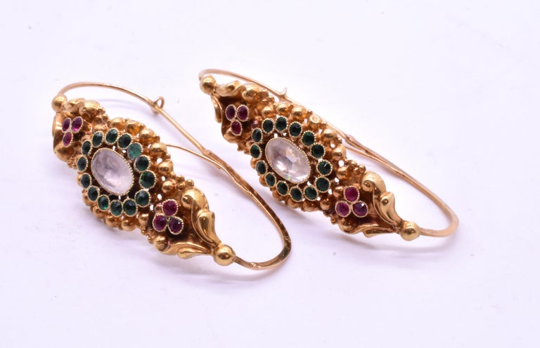 French Late 18th Century Paste Gold Poissarde Earrings For Sale 9