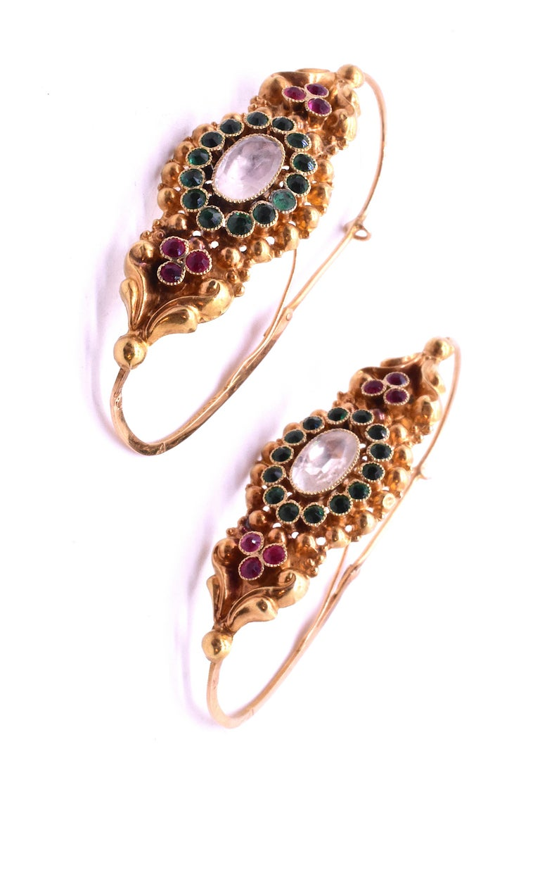 Women's French Late 18th Century Paste Gold Poissarde Earrings For Sale