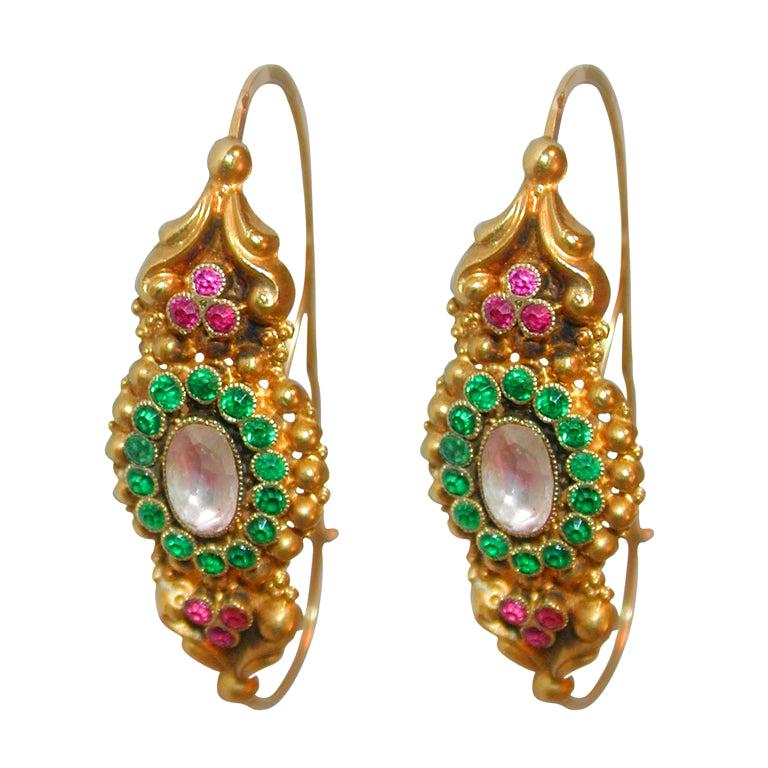 French Late 18th Century Paste Gold Poissarde Earrings For Sale