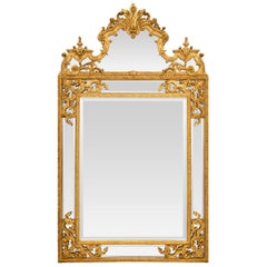 French Late 18th Century Regence Style Double Framed Giltwood Mirror