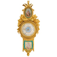 French Late 18th Ormolu and Sèvres Porcelain Barometer, Signed Giroux