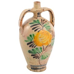 French Late 19th Century Beige Pottery Jug with Yellow Flower and Green Leaves