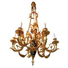 French Late 19th Century Belle Epoque style Gilt Bronze Chandelier