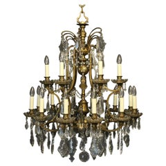 French Late 19th Century Bronze and Crystal 18-Light Chandelier