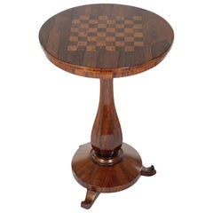 French Late 19th Century Chess Gaming Table, Mahogany and Other Precious Woods