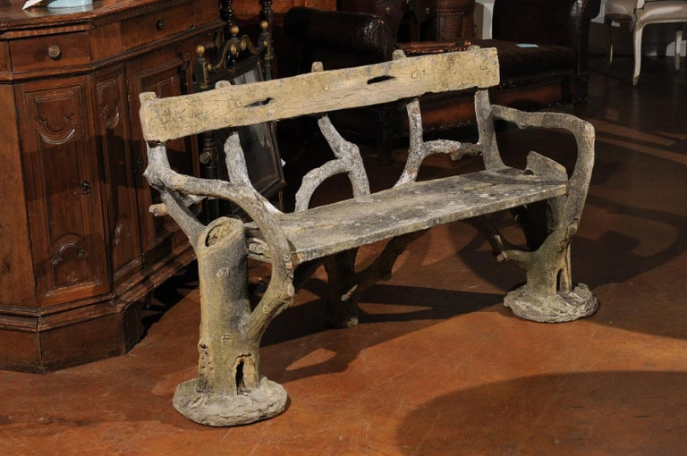 Faux Bois French Late 19th Century Faux-Bois Concrete Bench with Vases Flanking the Sides For Sale