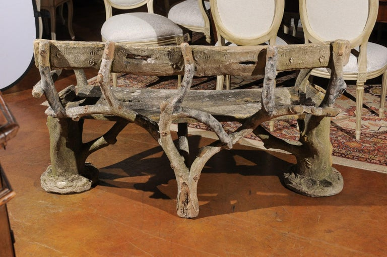 French Late 19th Century Faux-Bois Concrete Bench with Vases Flanking the Sides For Sale 2