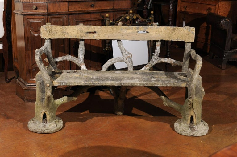 French Late 19th Century Faux-Bois Concrete Bench with Vases Flanking the Sides For Sale 3