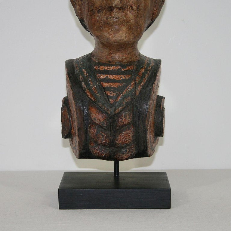 French Late 19th Century Folk Art Fair Ground Head For Sale 4