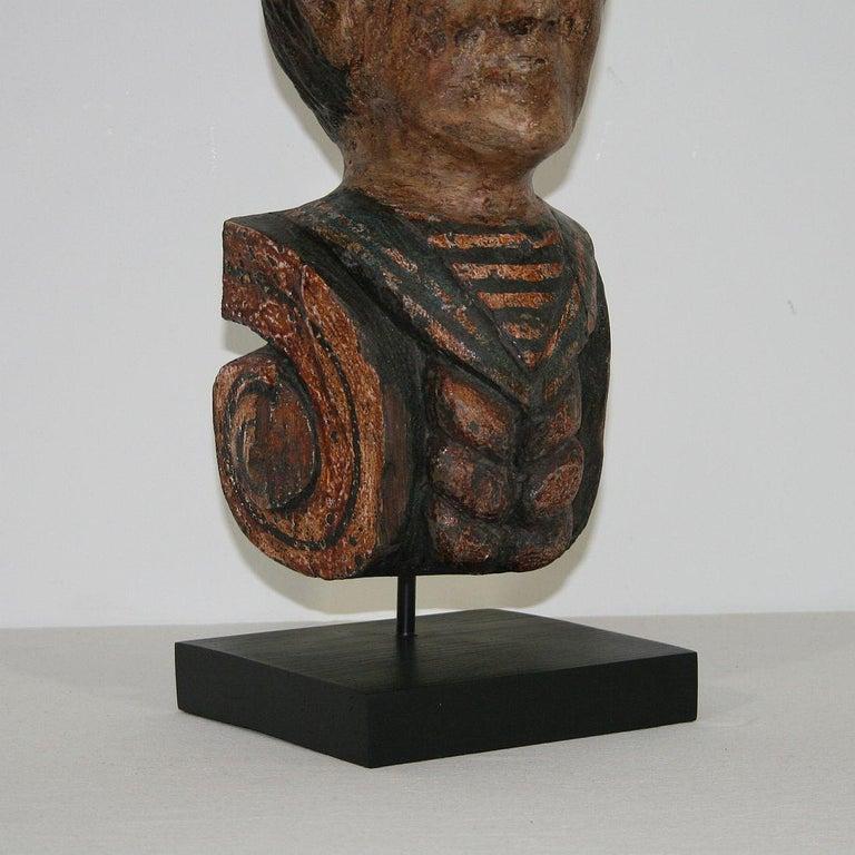 French Late 19th Century Folk Art Fair Ground Head For Sale 5