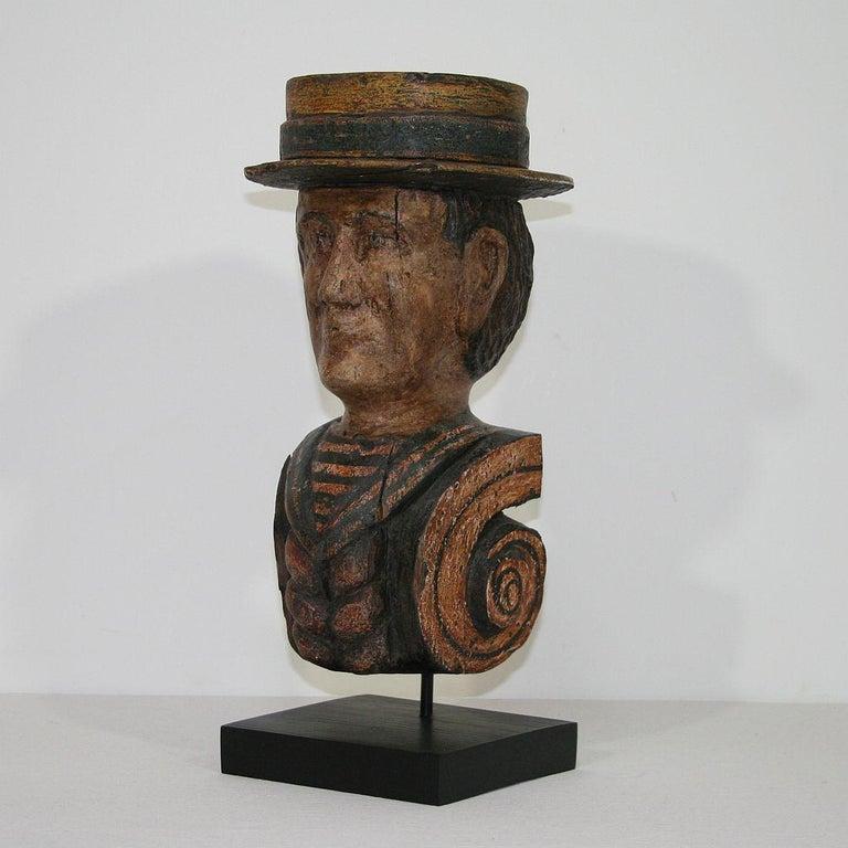 European French Late 19th Century Folk Art Fair Ground Head For Sale