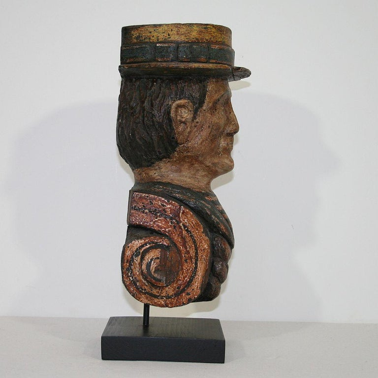 Hand-Carved French Late 19th Century Folk Art Fair Ground Head For Sale