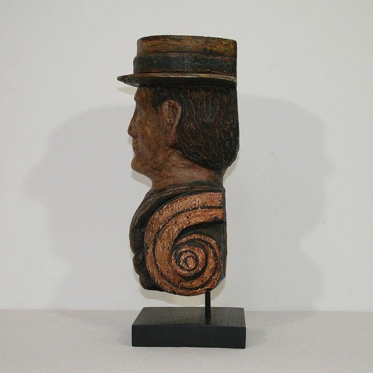 Wood French Late 19th Century Folk Art Fair Ground Head For Sale