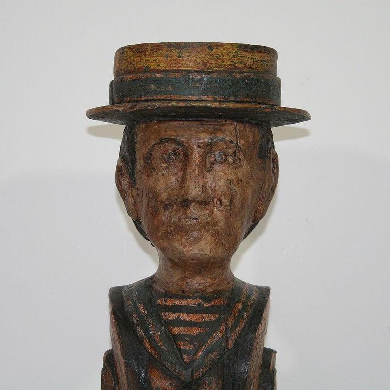 French Late 19th Century Folk Art Fair Ground Head For Sale 1