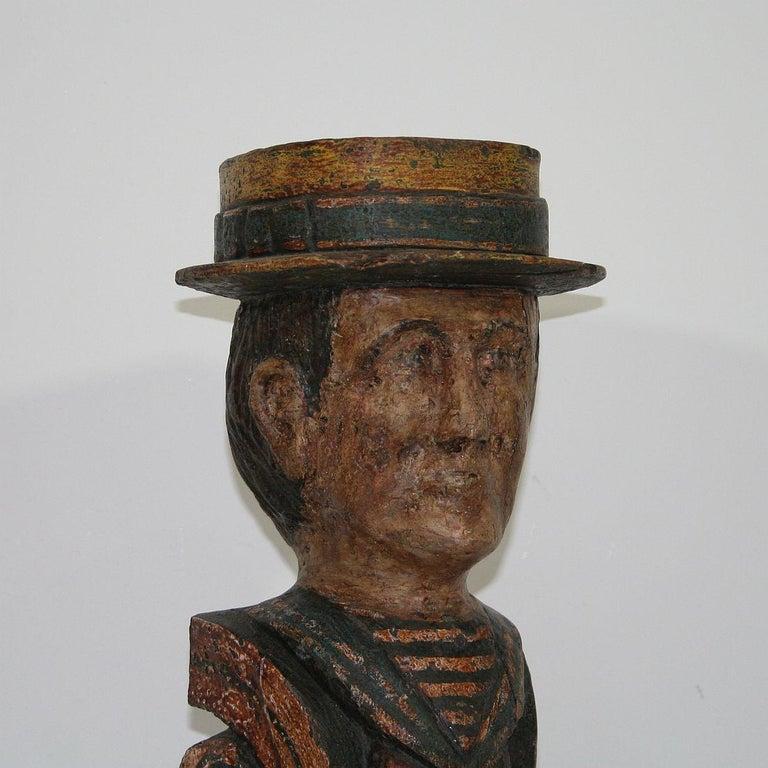 French Late 19th Century Folk Art Fair Ground Head For Sale 2