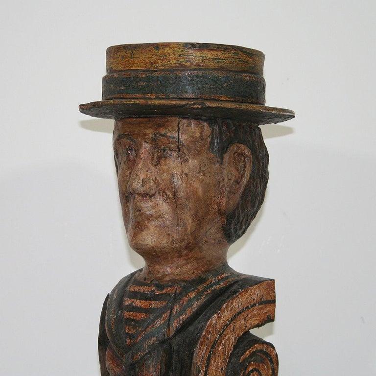 French Late 19th Century Folk Art Fair Ground Head For Sale 3