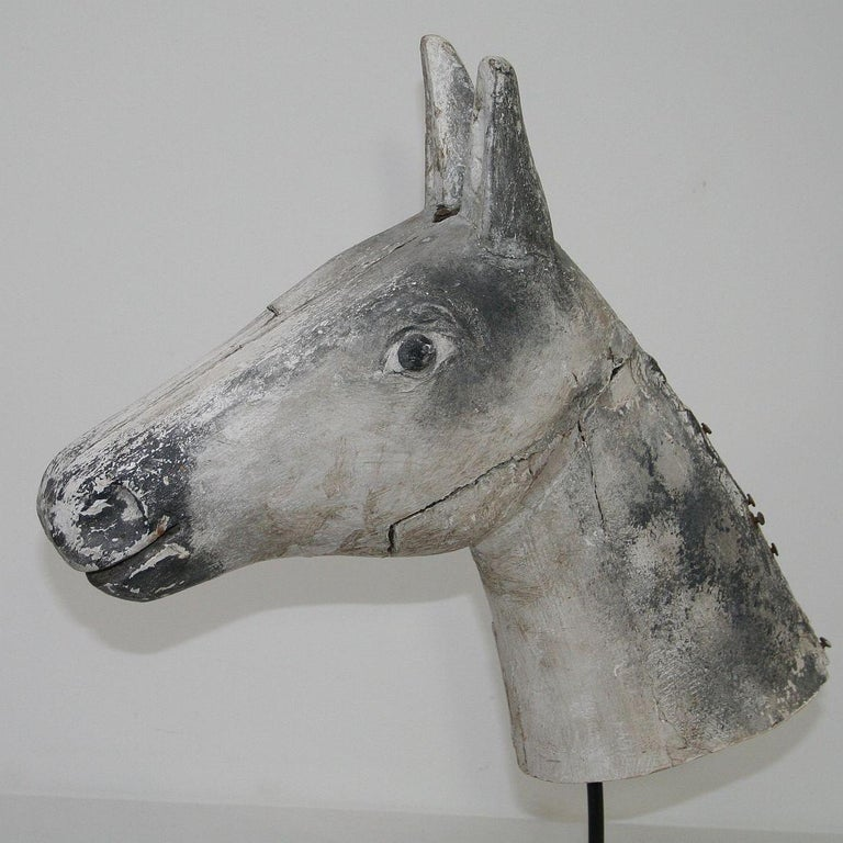 French Late 19th Century Folk Art Wooden Horse Head For Sale 6