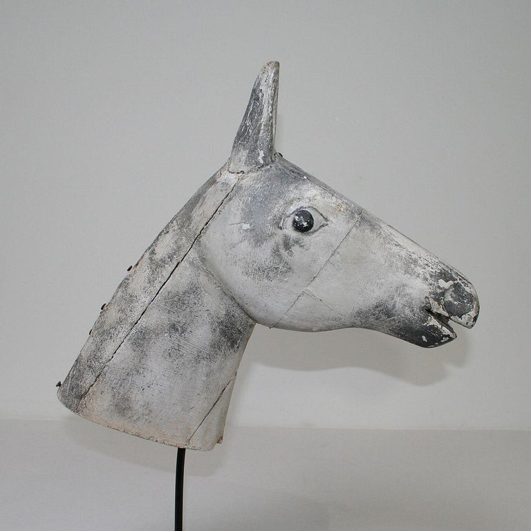 French Late 19th Century Folk Art Wooden Horse Head For Sale 7