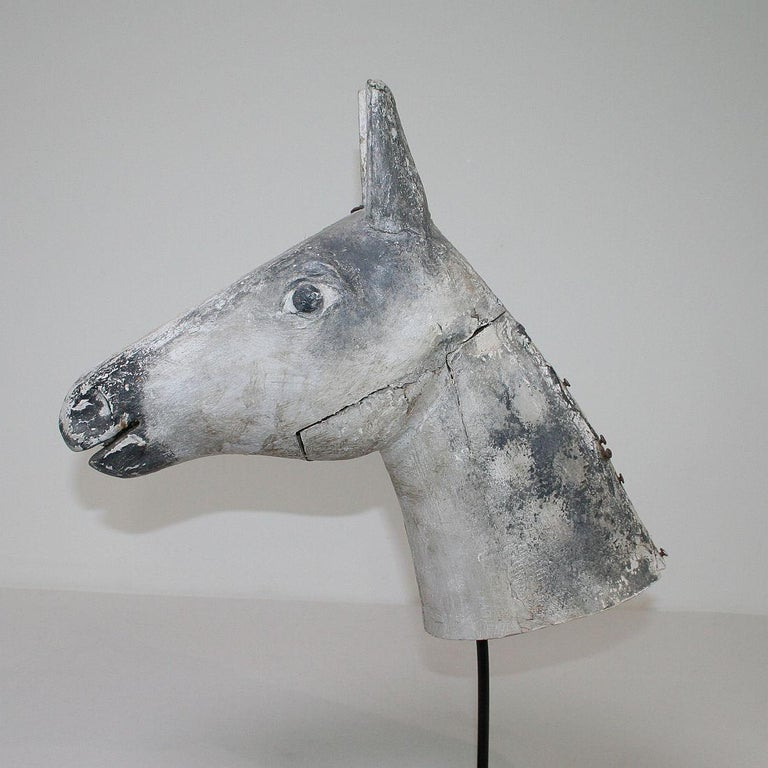 French Late 19th Century Folk Art Wooden Horse Head For Sale 8