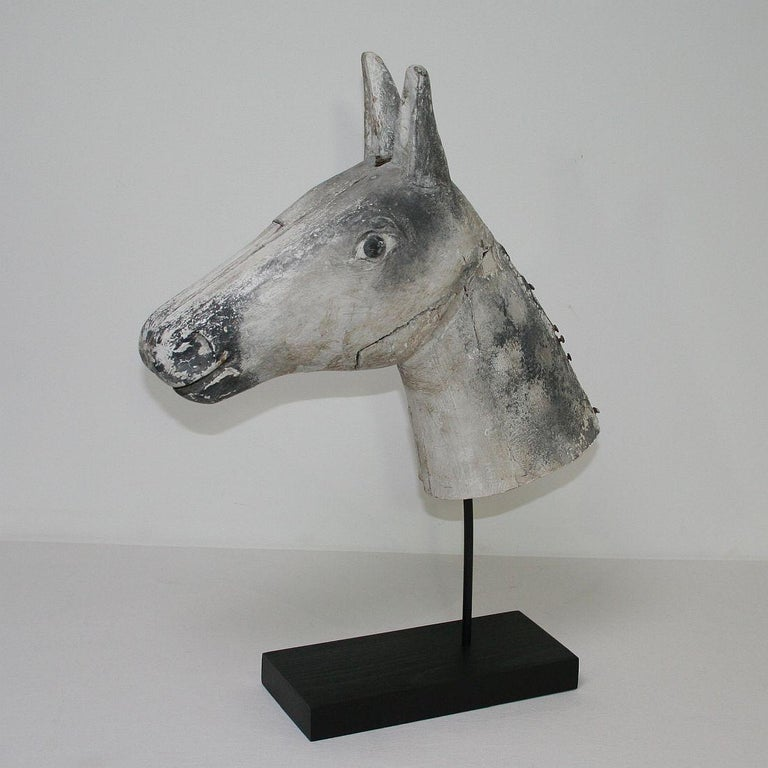 Hand-Carved French Late 19th Century Folk Art Wooden Horse Head For Sale