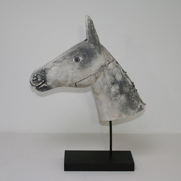 French Late 19th Century Folk Art Wooden Horse Head In Good Condition For Sale In Amsterdam, NL