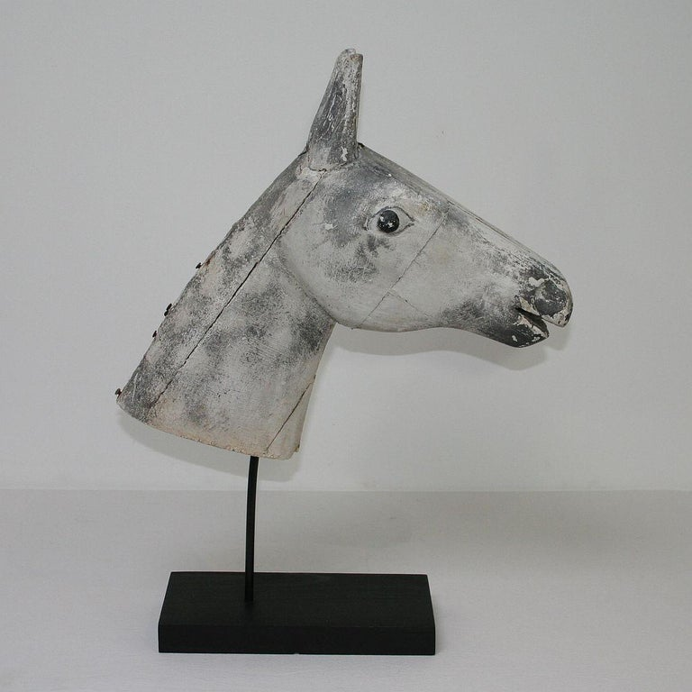 French Late 19th Century Folk Art Wooden Horse Head For Sale 1