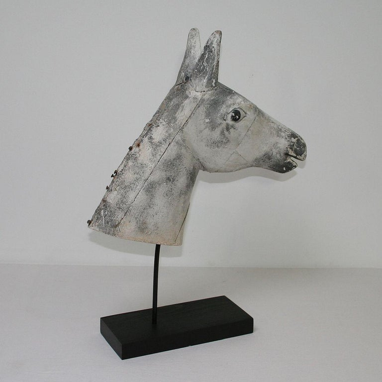 French Late 19th Century Folk Art Wooden Horse Head For Sale 2