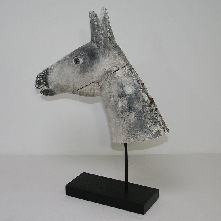 French Late 19th Century Folk Art Wooden Horse Head For Sale 4
