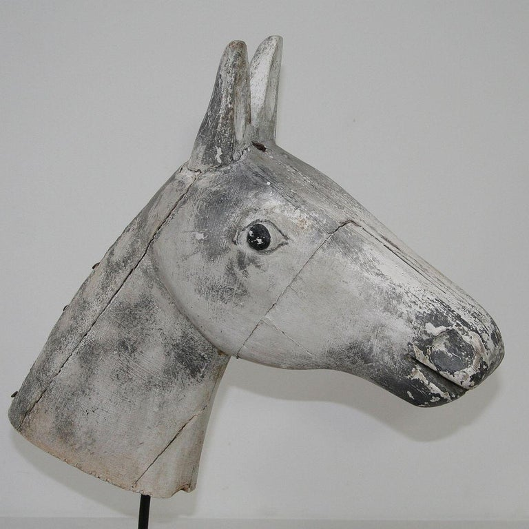 French Late 19th Century Folk Art Wooden Horse Head For Sale 5