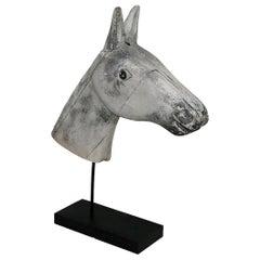 French Late 19th Century Folk Art Wooden Horse Head