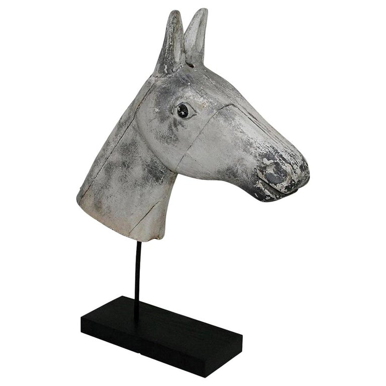 French Late 19th Century Folk Art Wooden Horse Head For Sale
