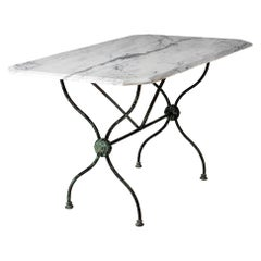 French Late 19th Century Garden Table with Marble Top