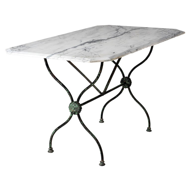 French Late 19th Century Garden Table with Marble Top For Sale