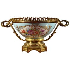 French Late 19th Century Gilt Metal Mounted Hand Painted Porcelain Bowl
