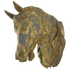 French Late 19th Century Gilt Zinc Horse Head