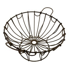French Late 19th Century Handmade Wire Metal Pedestal Egg Stand Kitchen Basket
