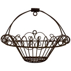 French Late 19th Century Iron Half Round Flat Back Garden Jardinière Basket